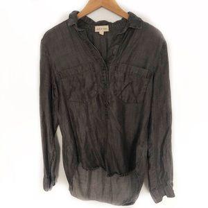 Anthropologie Cloth & Stone Black Popover Top